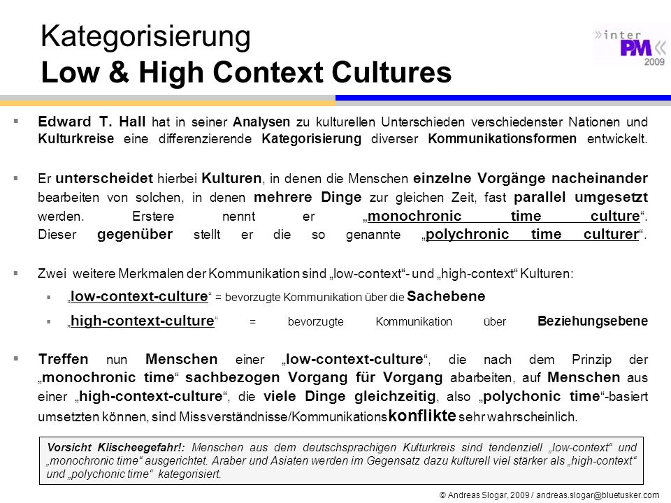 Kategorisierung Low & High Context Cultures