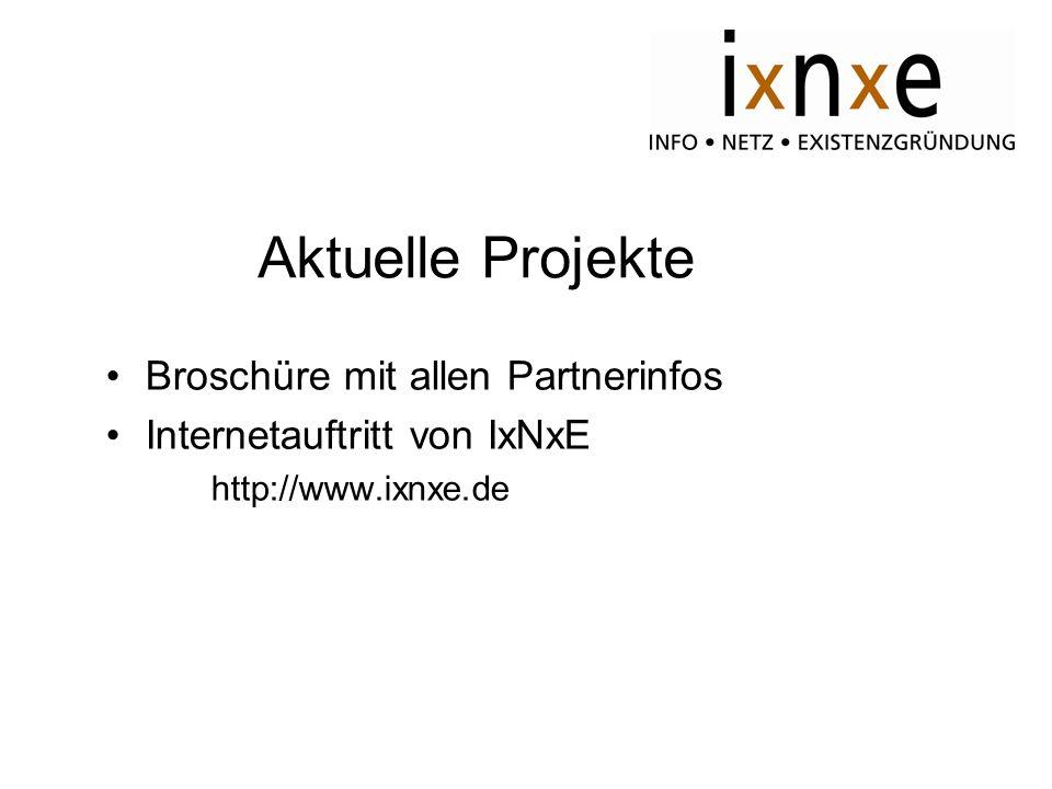 Aktuelle Projekte Broschüre mit allen Partnerinfos