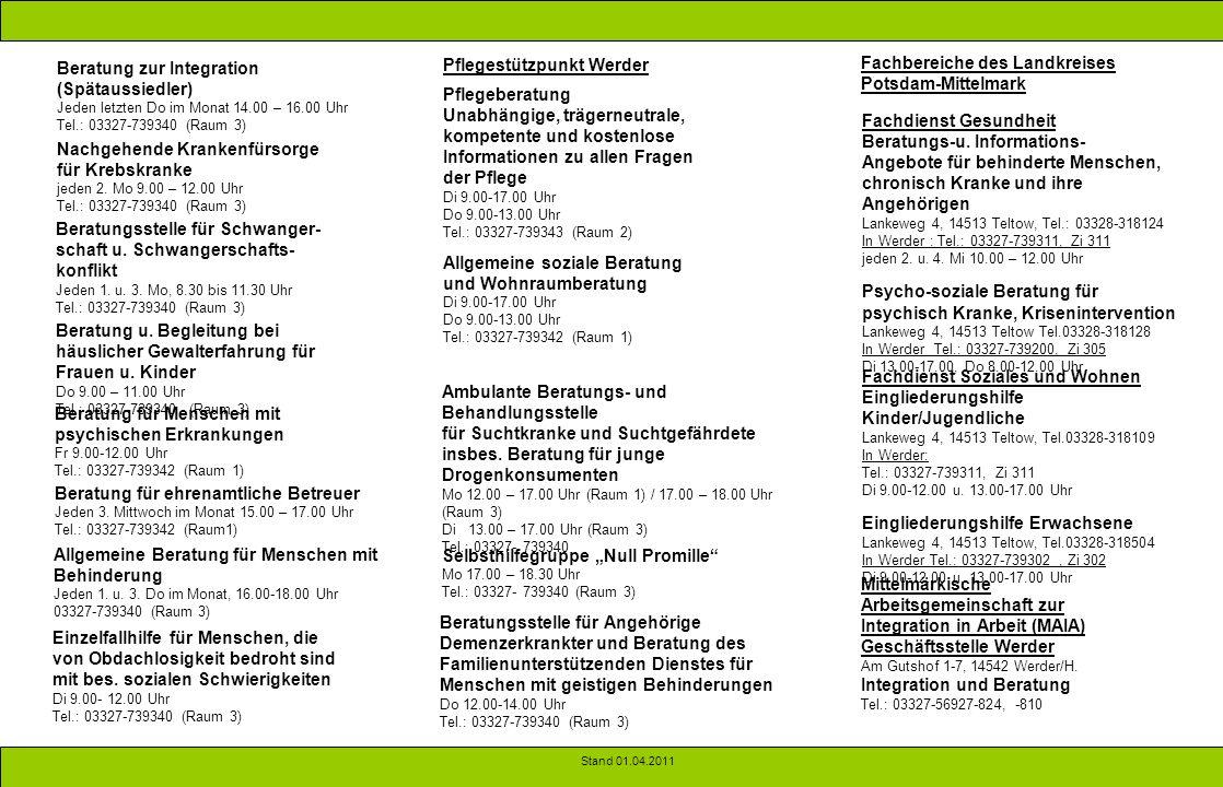 Beratung zur Integration (Spätaussiedler) Pflegestützpunkt Werder