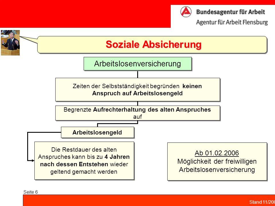 Soziale Absicherung Arbeitslosenversicherung Ab 01.02.2006