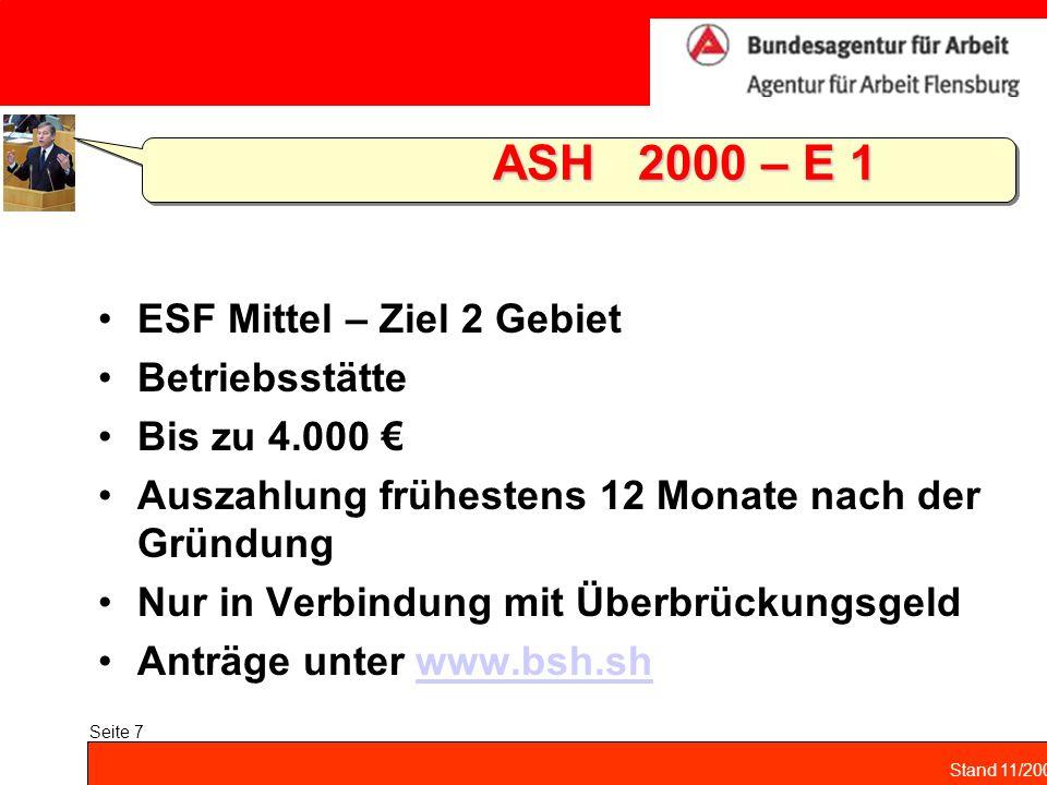 ASH 2000 – E 1 ESF Mittel – Ziel 2 Gebiet Betriebsstätte