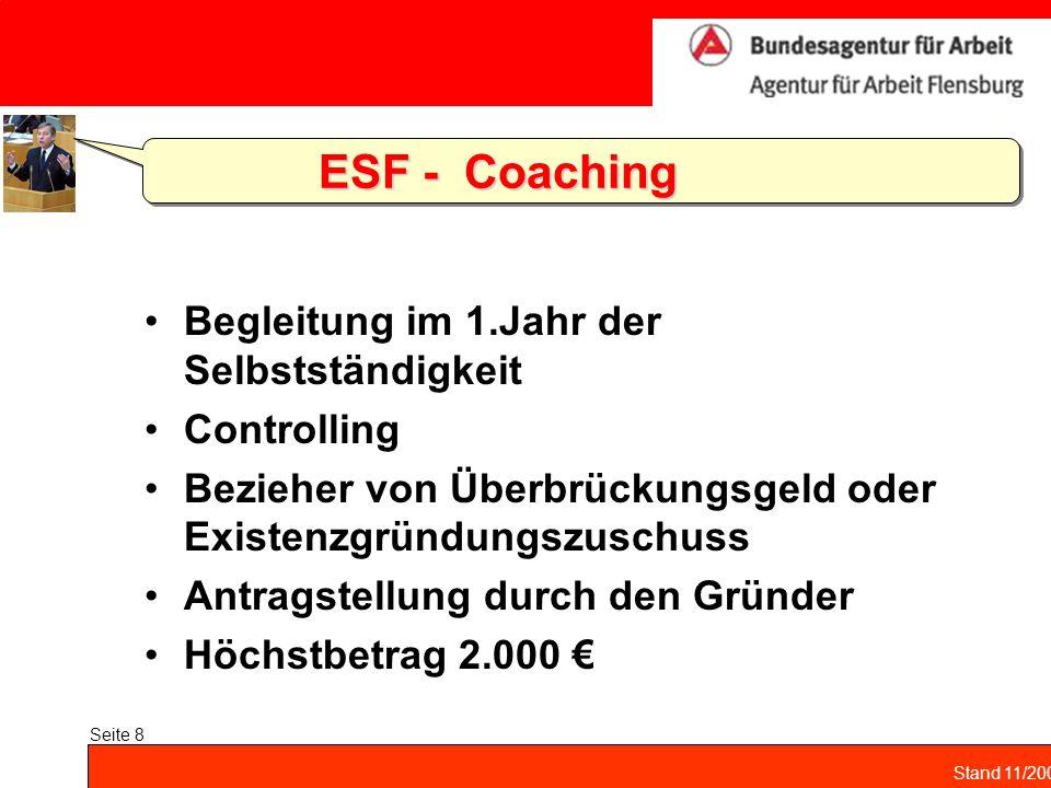 ESF - Coaching Begleitung im 1.Jahr der Selbstständigkeit Controlling