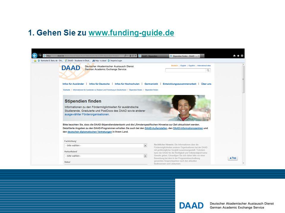1. Gehen Sie zu www.funding-guide.de