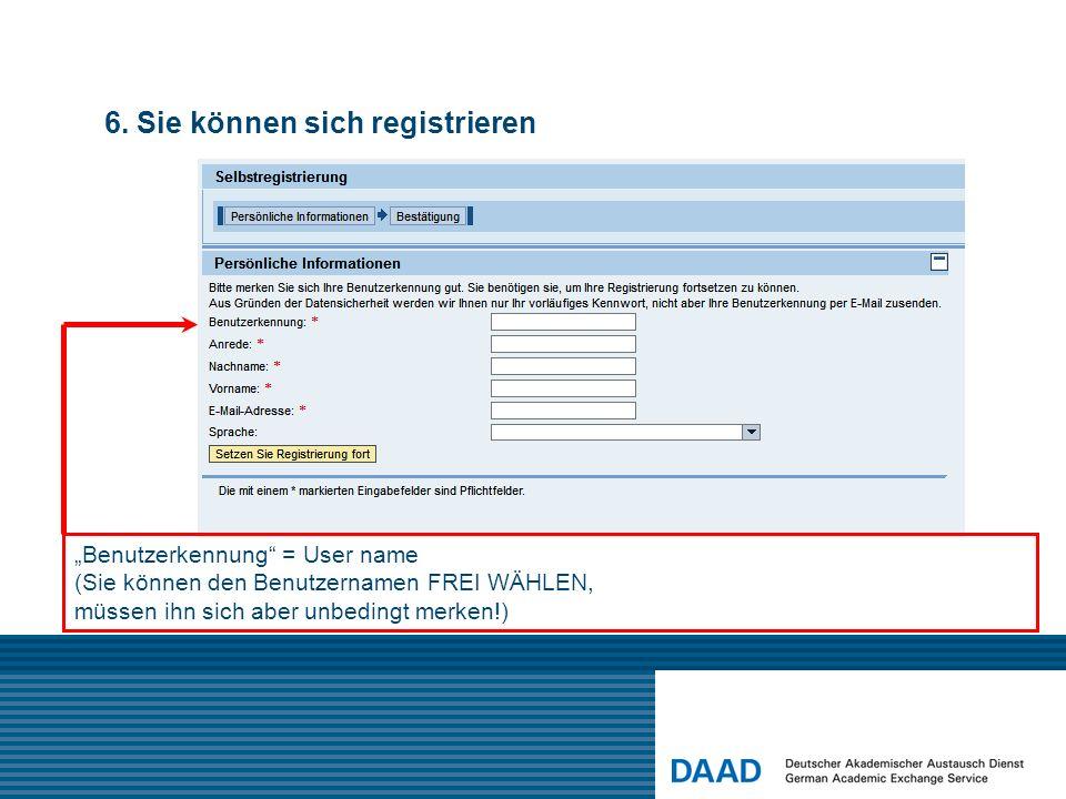 6. Sie können sich registrieren