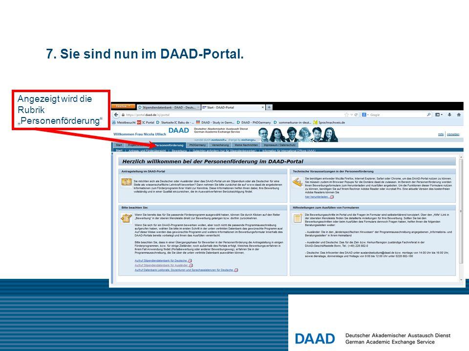 7. Sie sind nun im DAAD-Portal.