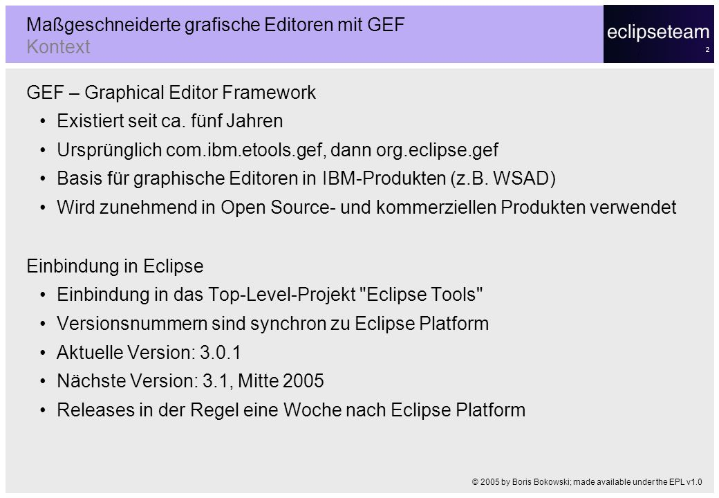Maßgeschneiderte grafische Editoren mit GEF Kontext