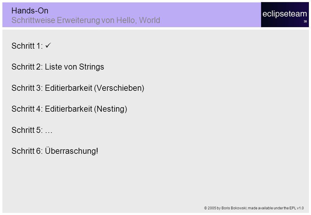 Hands-On Schrittweise Erweiterung von Hello, World