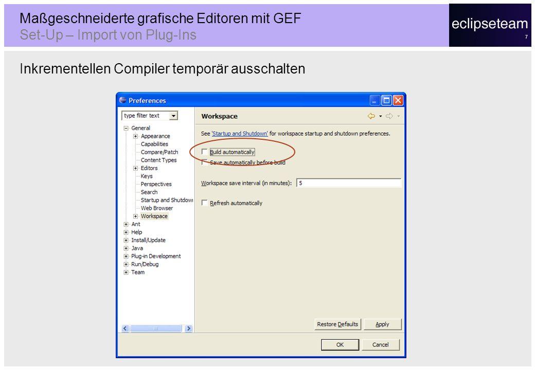 Maßgeschneiderte grafische Editoren mit GEF Set-Up – Import von Plug-Ins