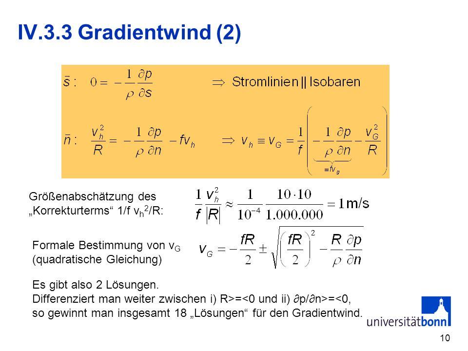 """IV.3.3 Gradientwind (2) Größenabschätzung des """"Korrekturterms 1/f vh2/R: Formale Bestimmung von vG."""
