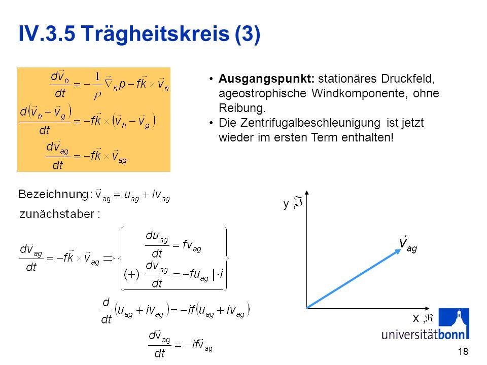 IV.3.5 Trägheitskreis (3) Ausgangspunkt: stationäres Druckfeld, ageostrophische Windkomponente, ohne Reibung.