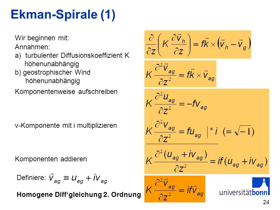 Ekman-Spirale (1) Wir beginnen mit: Annahmen: