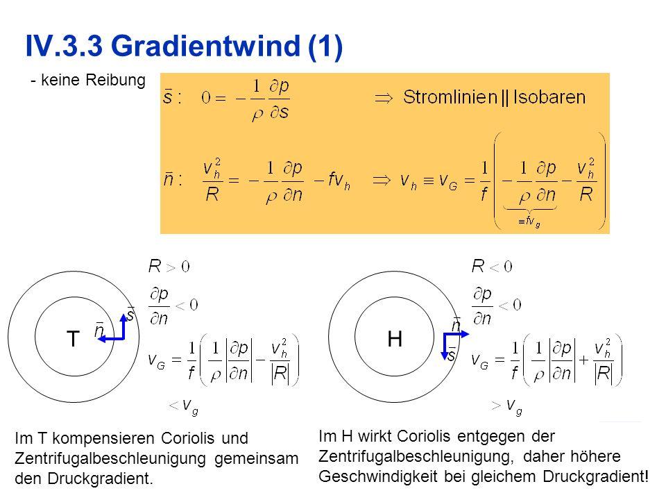 IV.3.3 Gradientwind (1) T H keine Reibung