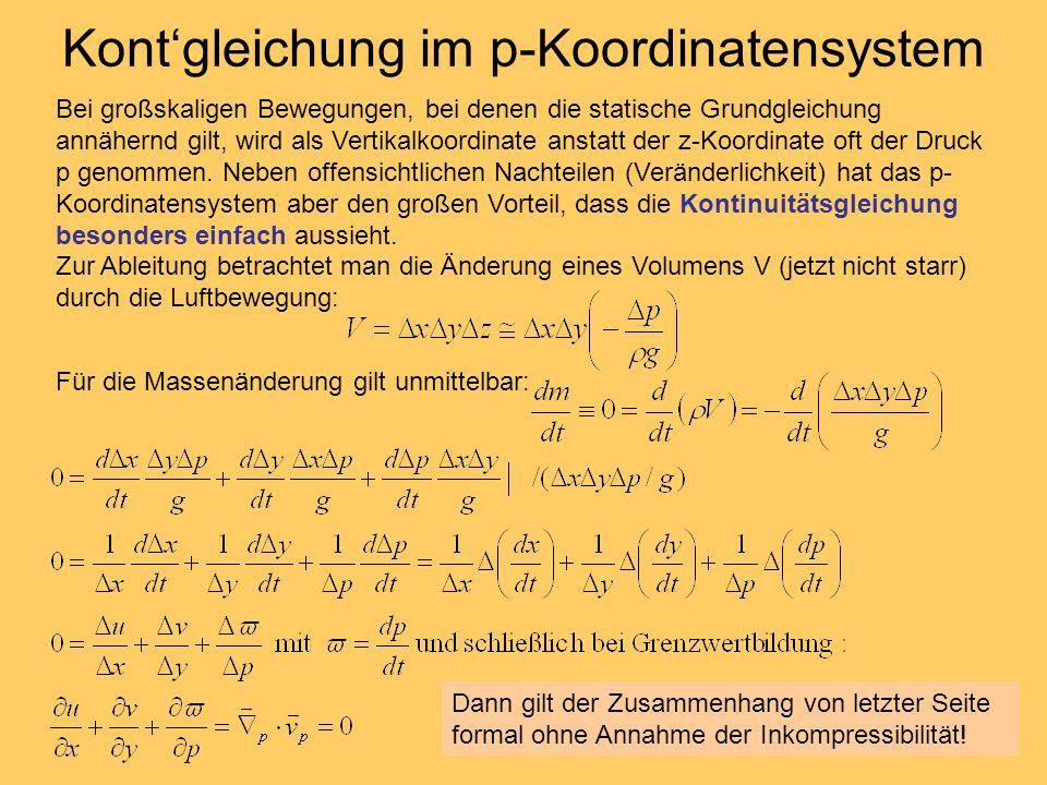 Kont'gleichung im p-Koordinatensystem