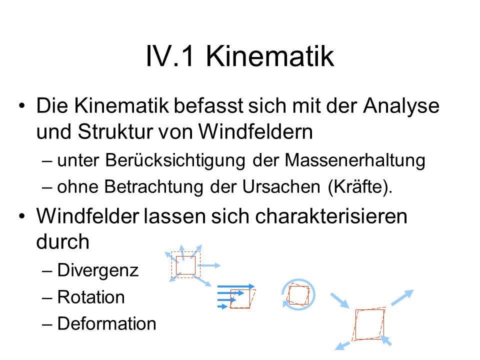 IV.1 Kinematik Die Kinematik befasst sich mit der Analyse und Struktur von Windfeldern. unter Berücksichtigung der Massenerhaltung.