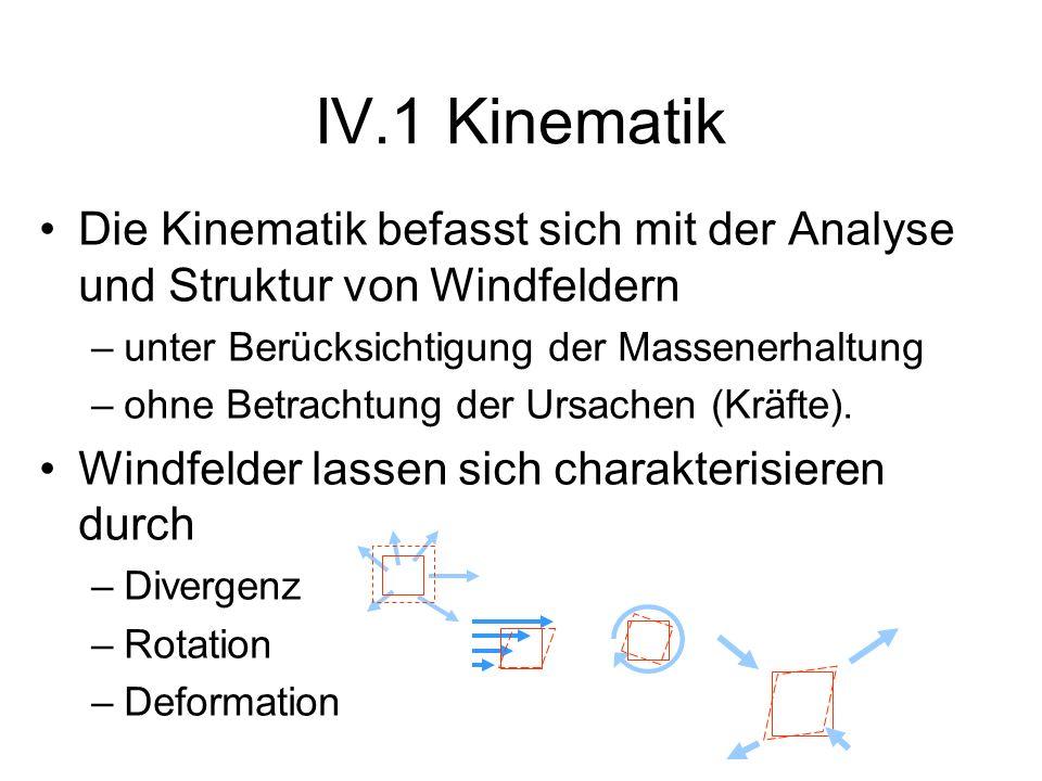 IV.1 KinematikDie Kinematik befasst sich mit der Analyse und Struktur von Windfeldern. unter Berücksichtigung der Massenerhaltung.