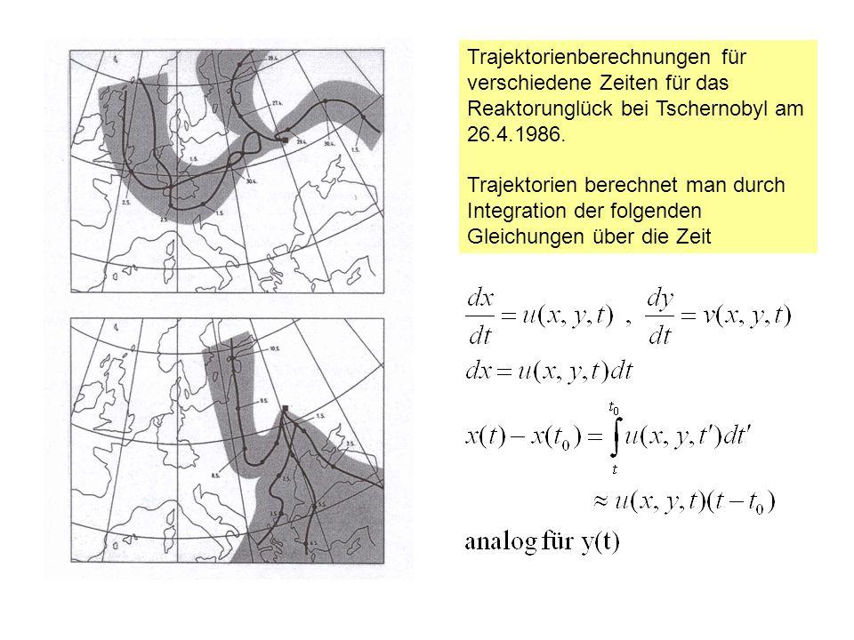 Trajektorienberechnungen für verschiedene Zeiten für das Reaktorunglück bei Tschernobyl am 26.4.1986.