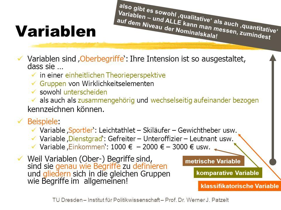 Variablen also gibt es sowohl 'qualitative' als auch 'quantitative' Variablen – und ALLE kann man messen, zumindest auf dem Niveau der Nominalskala!
