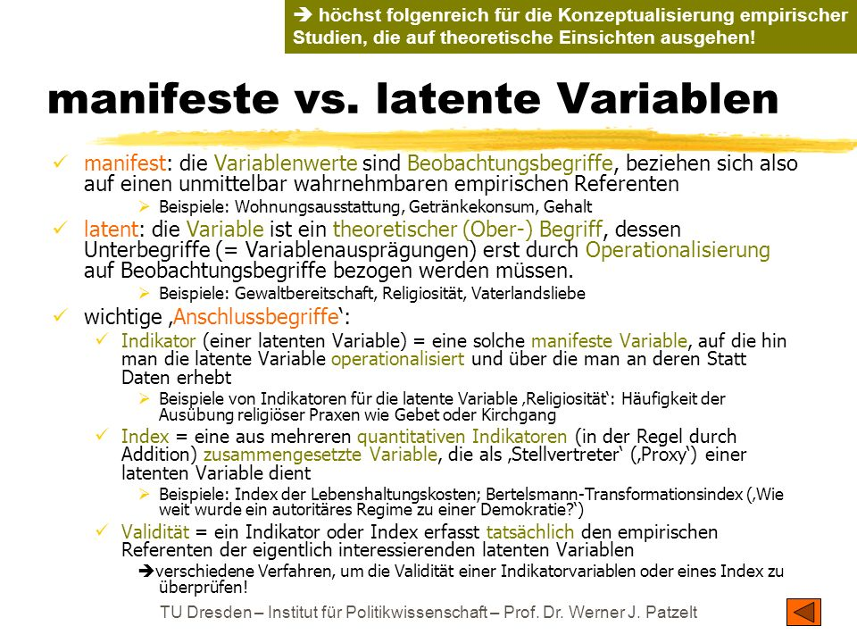 manifeste vs. latente Variablen