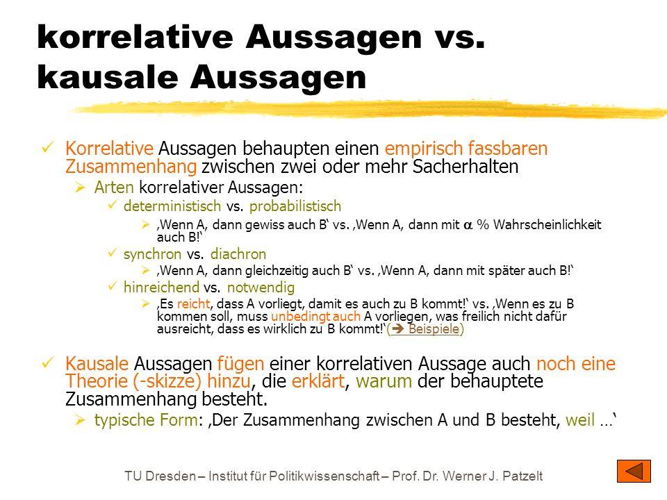 korrelative Aussagen vs. kausale Aussagen