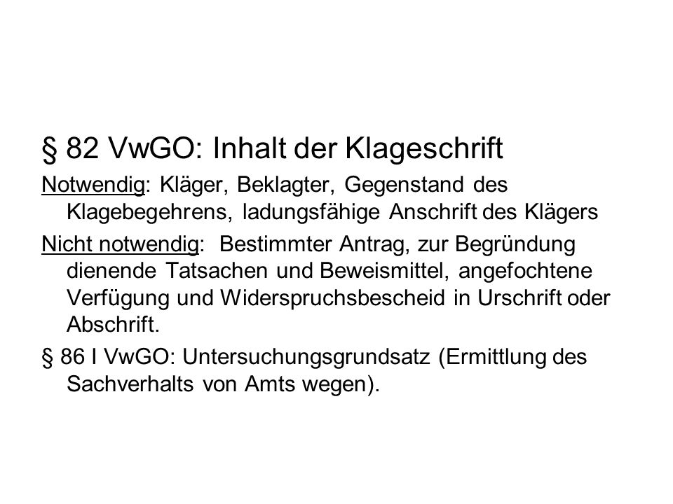 § 82 VwGO: Inhalt der Klageschrift