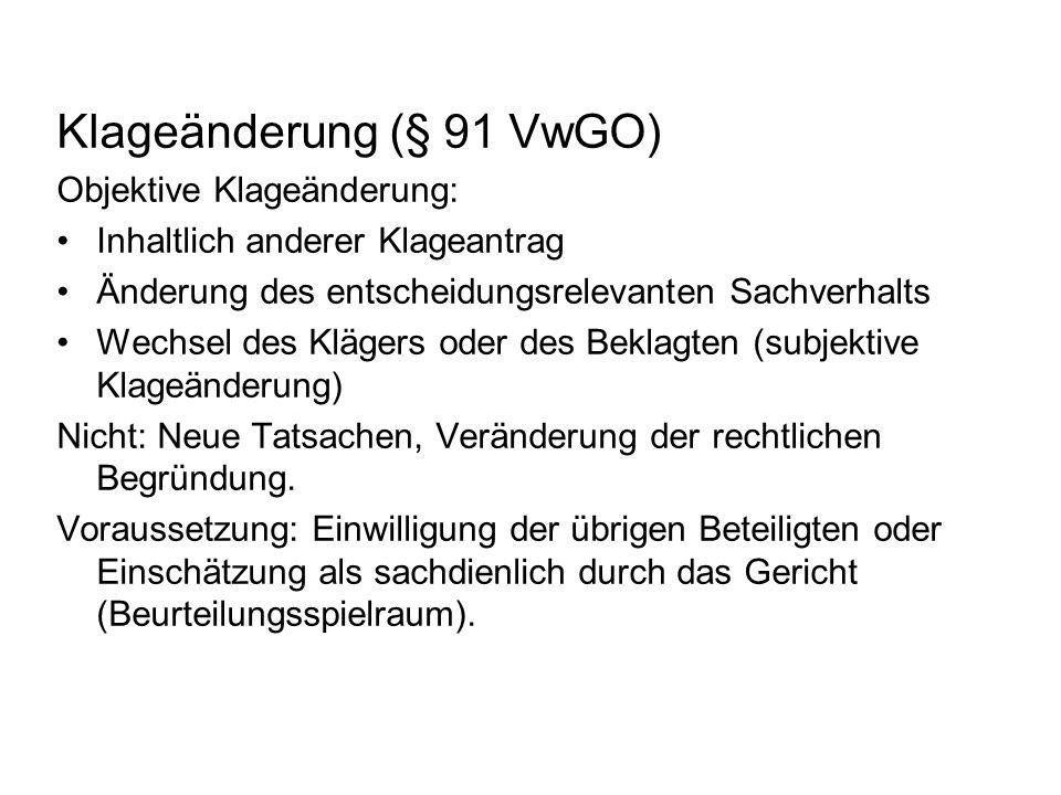 Klageänderung (§ 91 VwGO)