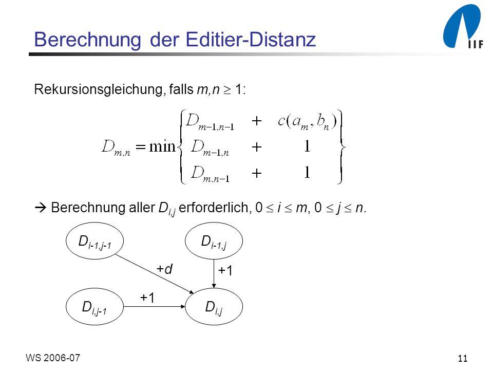 Berechnung der Editier-Distanz