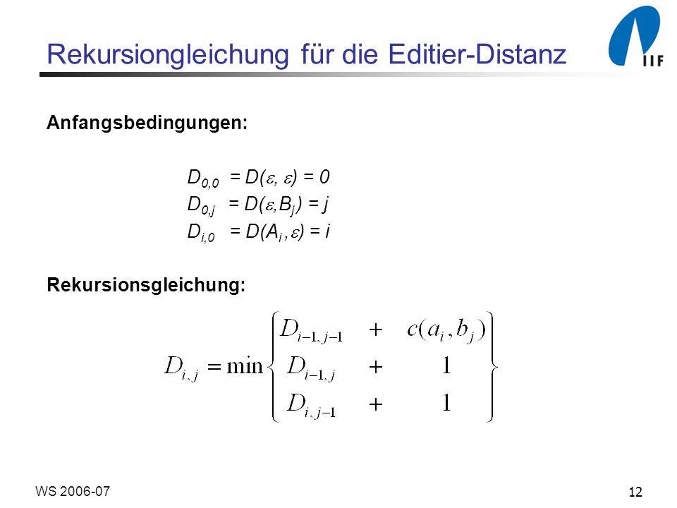 Rekursiongleichung für die Editier-Distanz