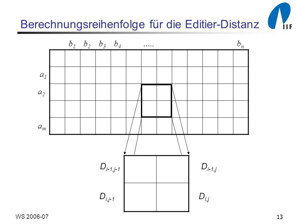 Berechnungsreihenfolge für die Editier-Distanz