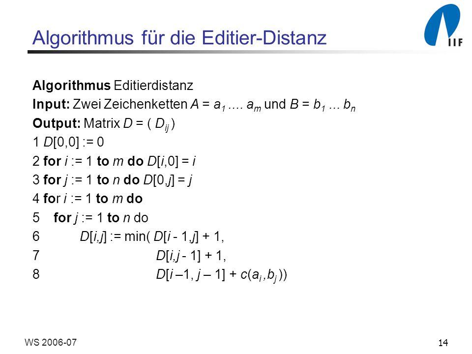 Algorithmus für die Editier-Distanz