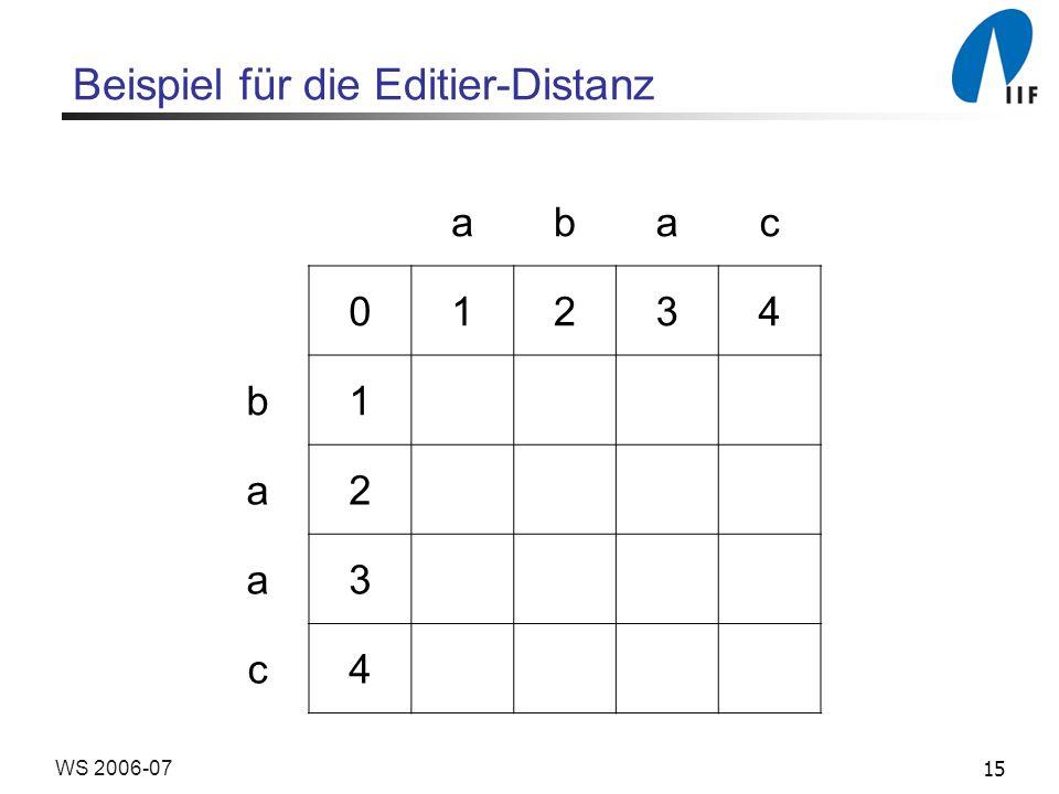 Beispiel für die Editier-Distanz