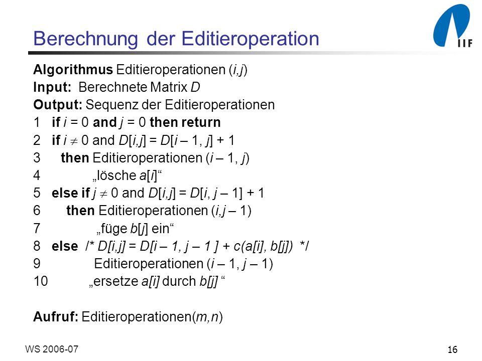 Berechnung der Editieroperation