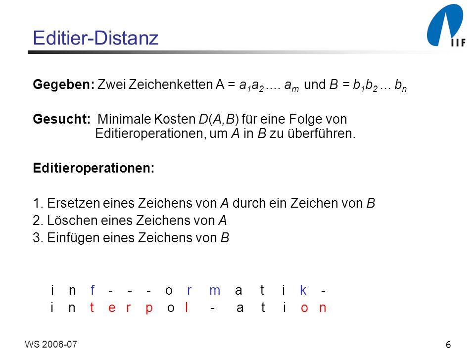 Editier-Distanz Gegeben: Zwei Zeichenketten A = a1a2 .... am und B = b1b2 ... bn.