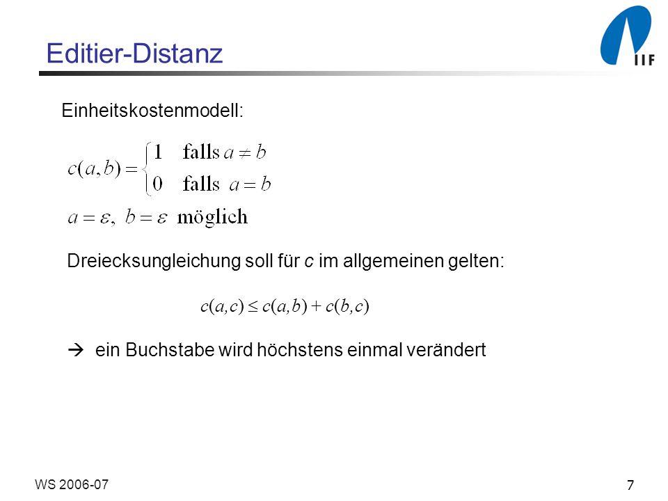 Editier-Distanz Einheitskostenmodell: