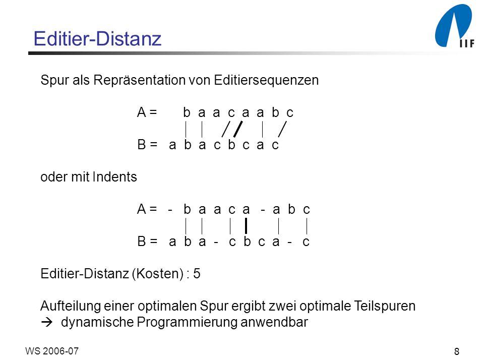 Editier-Distanz Spur als Repräsentation von Editiersequenzen