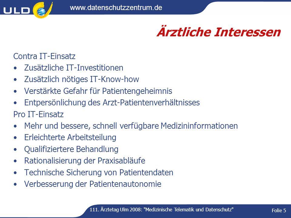 111. Ärztetag Ulm 2008: Medizinische Telematik und Datenschutz
