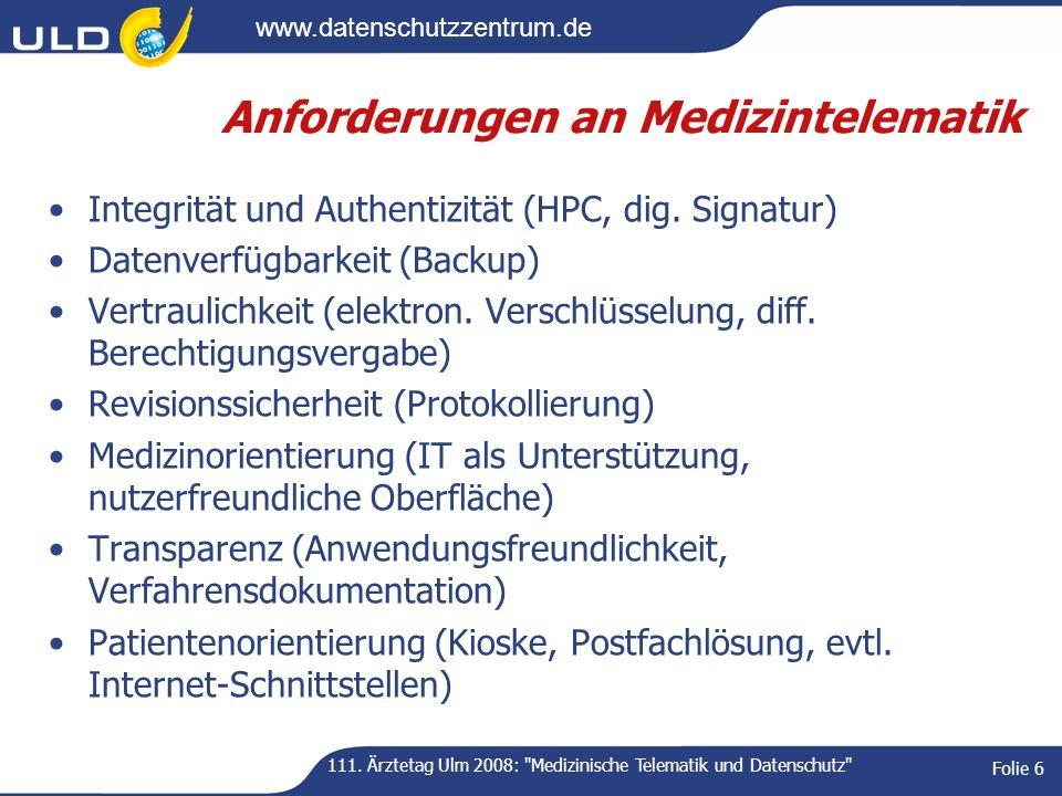 Anforderungen an Medizintelematik