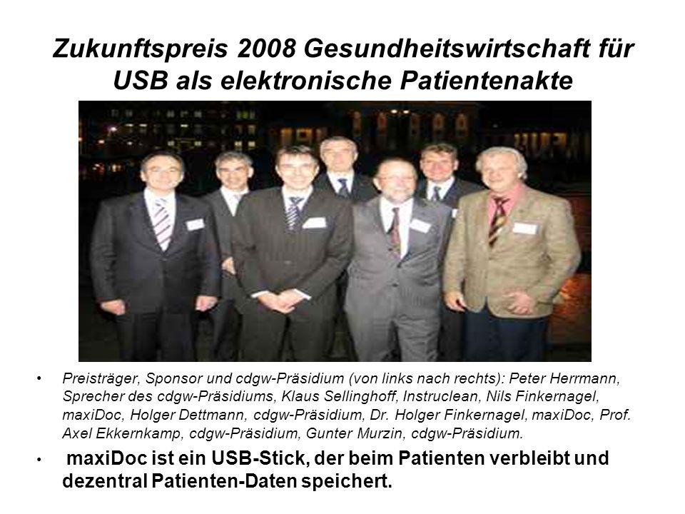 Zukunftspreis 2008 Gesundheitswirtschaft für USB als elektronische Patientenakte