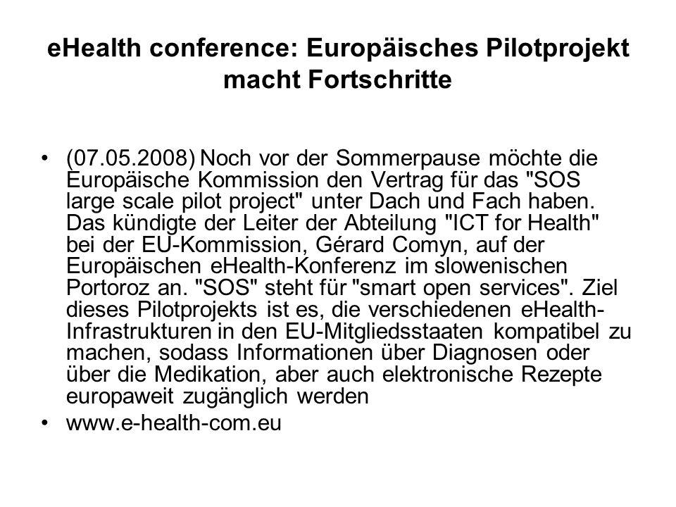 eHealth conference: Europäisches Pilotprojekt macht Fortschritte