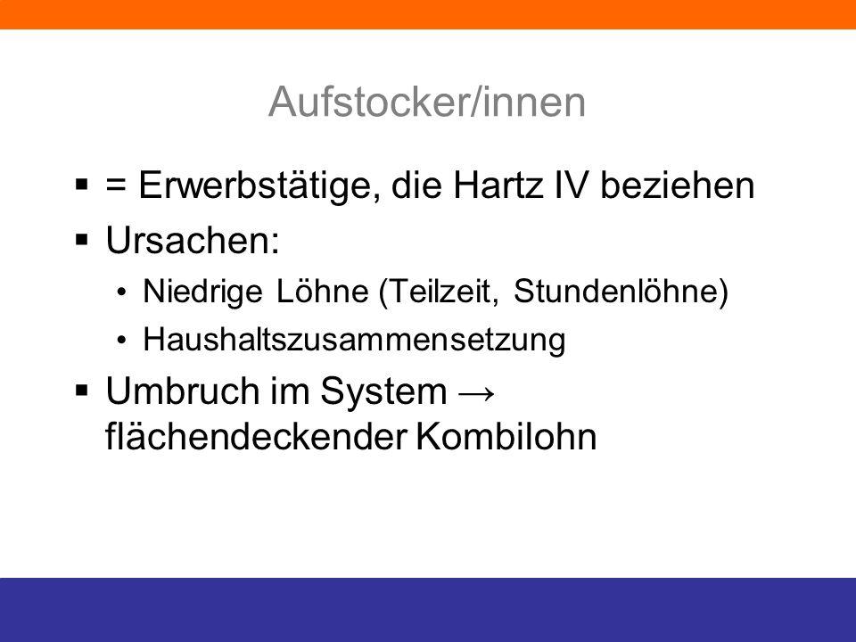 Aufstocker/innen = Erwerbstätige, die Hartz IV beziehen Ursachen: