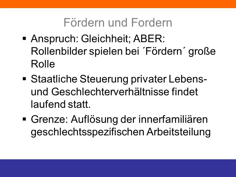 Fördern und Fordern Anspruch: Gleichheit; ABER: Rollenbilder spielen bei ´Fördern´ große Rolle.