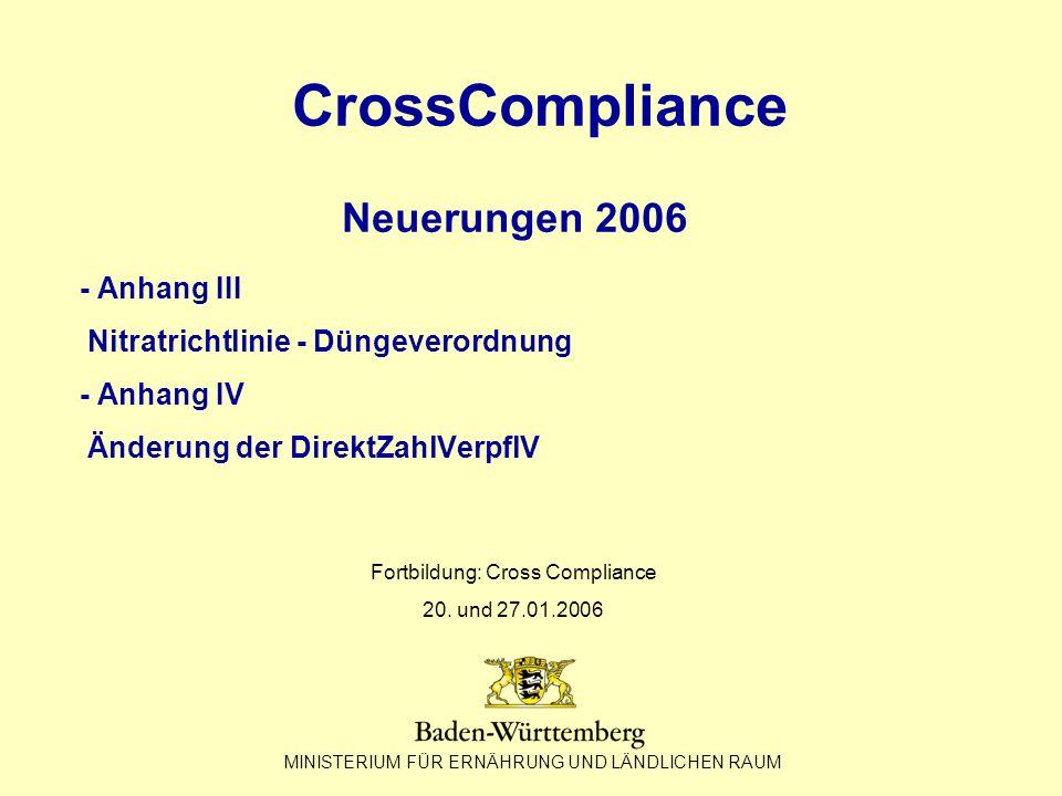 Fortbildung: Cross Compliance 20. und 27.01.2006