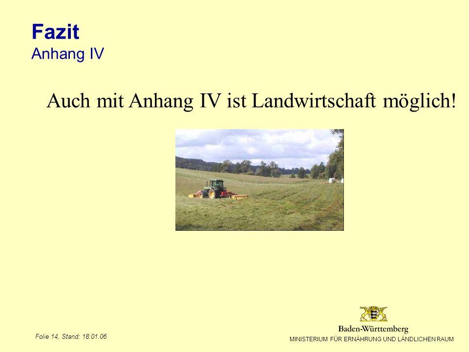Auch mit Anhang IV ist Landwirtschaft möglich!