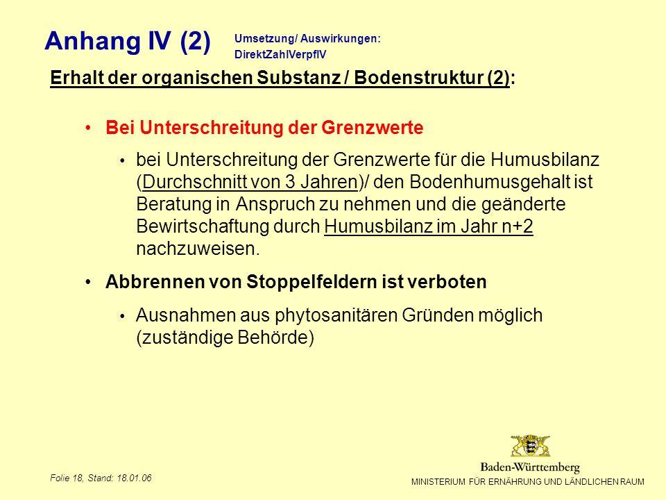 Anhang IV (2) Erhalt der organischen Substanz / Bodenstruktur (2):