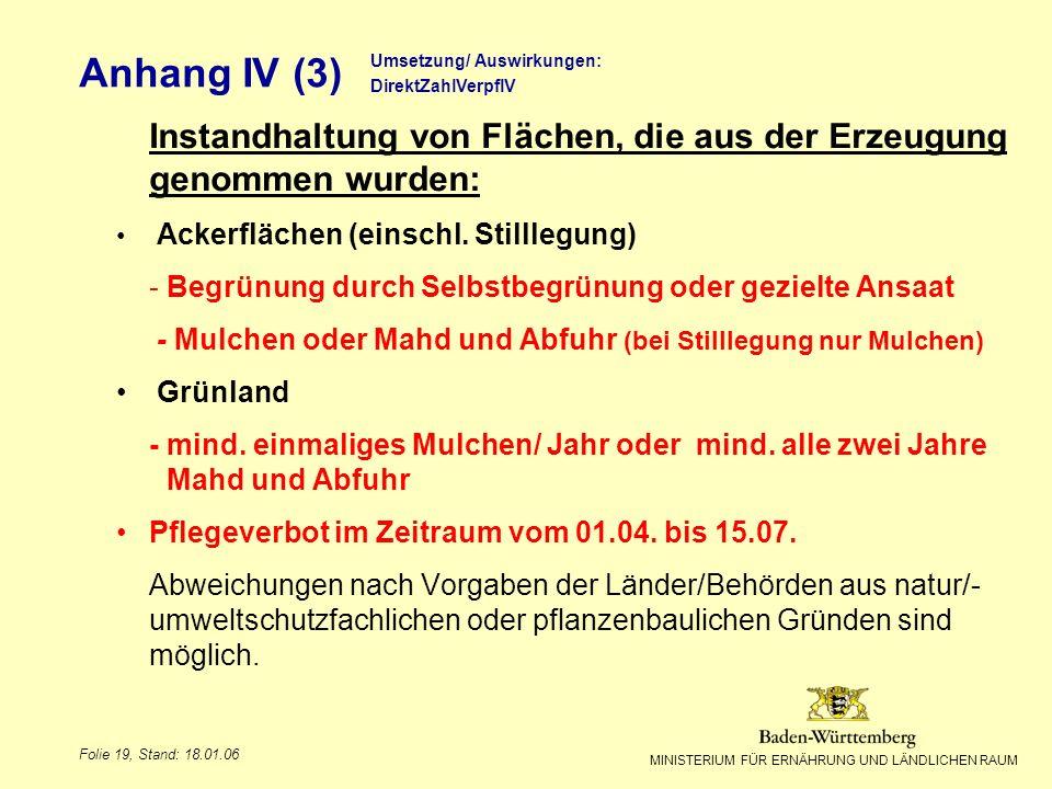 Anhang IV (3) Titel des Vortrags. Umsetzung/ Auswirkungen: DirektZahlVerpflV. Instandhaltung von Flächen, die aus der Erzeugung genommen wurden: