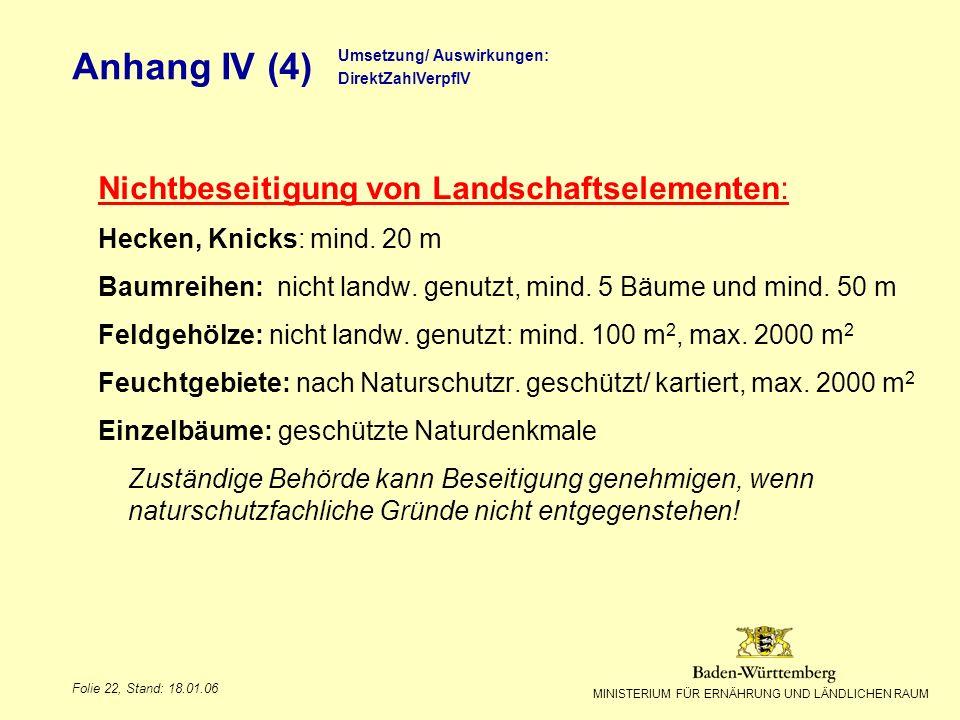 Anhang IV (4) Nichtbeseitigung von Landschaftselementen:
