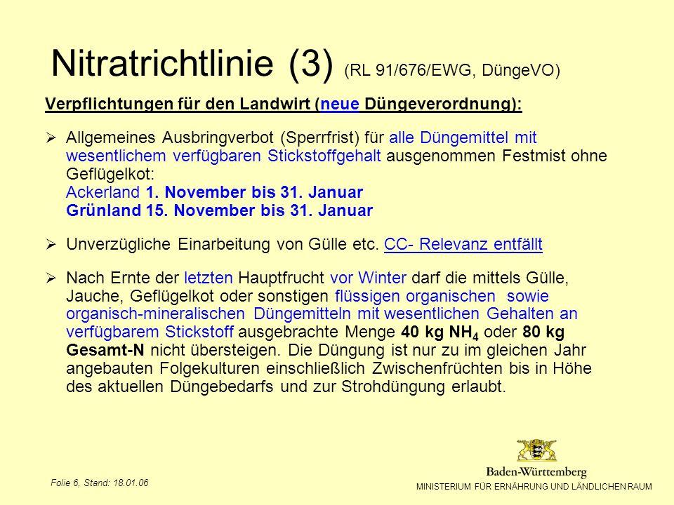 Nitratrichtlinie (3) (RL 91/676/EWG, DüngeVO)