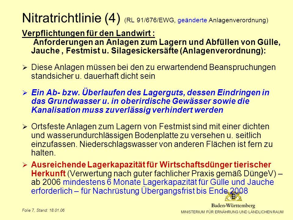 Nitratrichtlinie (4) (RL 91/676/EWG, geänderte Anlagenverordnung)