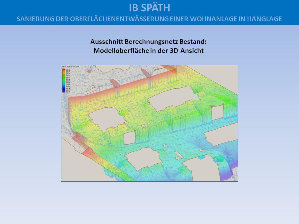 Ausschnitt Berechnungsnetz Bestand: Modelloberfläche in der 3D-Ansicht