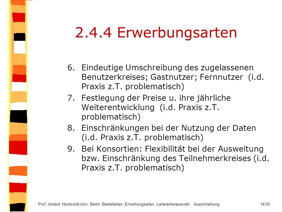 2.4.4 Erwerbungsarten Eindeutige Umschreibung des zugelassenen Benutzerkreises; Gastnutzer; Fernnutzer (i.d. Praxis z.T. problematisch)