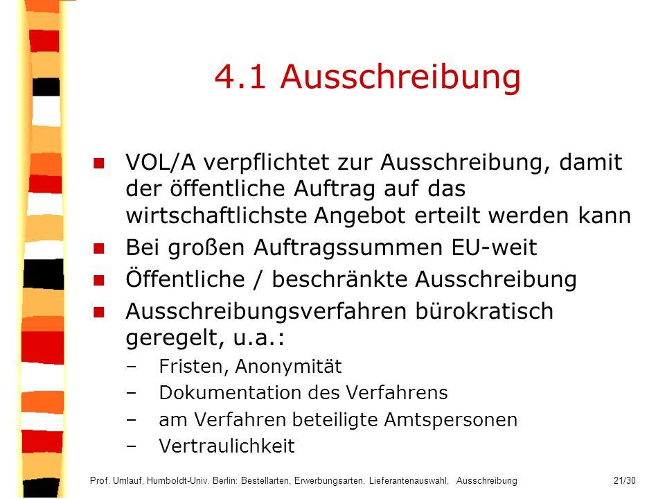 4.1 Ausschreibung VOL/A verpflichtet zur Ausschreibung, damit der öffentliche Auftrag auf das wirtschaftlichste Angebot erteilt werden kann.